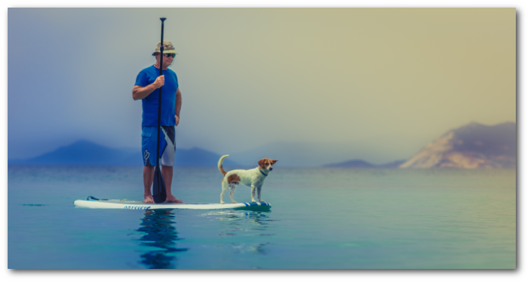A man and his best friend on his paddle board.